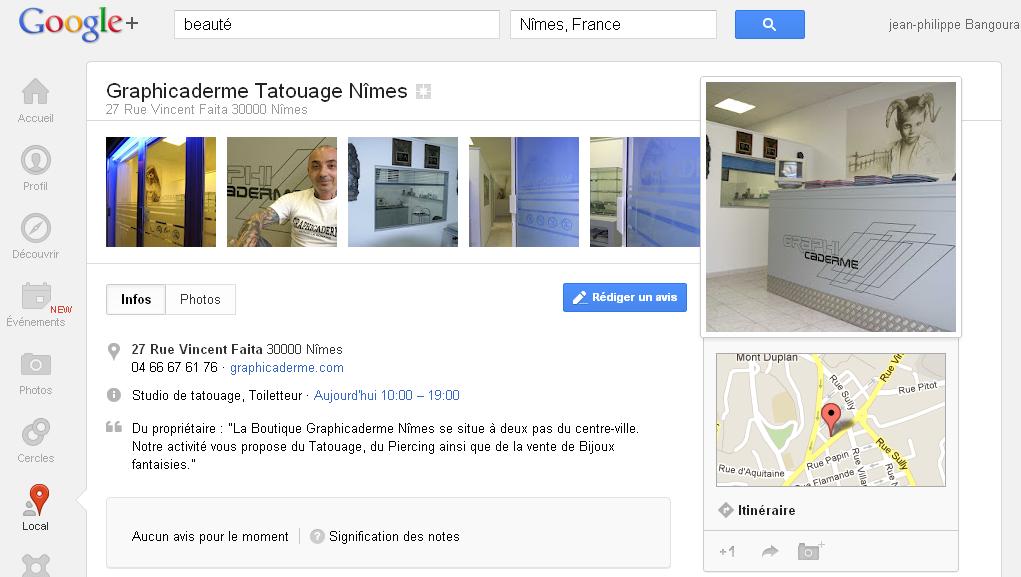 Présentation de Graphicaderme Tatouage Nîmes dans Google + Lcoal