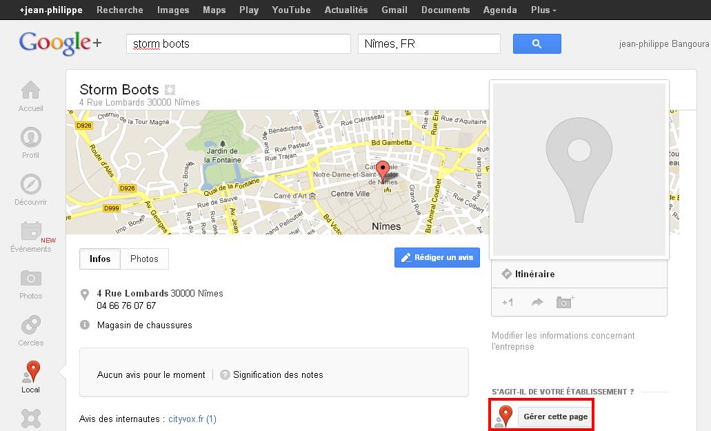 Exemple Storm Boots  Google comment Gérez sa page