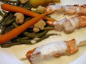 Brochettes saumon, petits legumes espuma wasabi