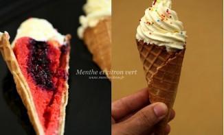 Red Velvet cupcake façon glace, coeur aux fruits rouges et crème au mascarpone