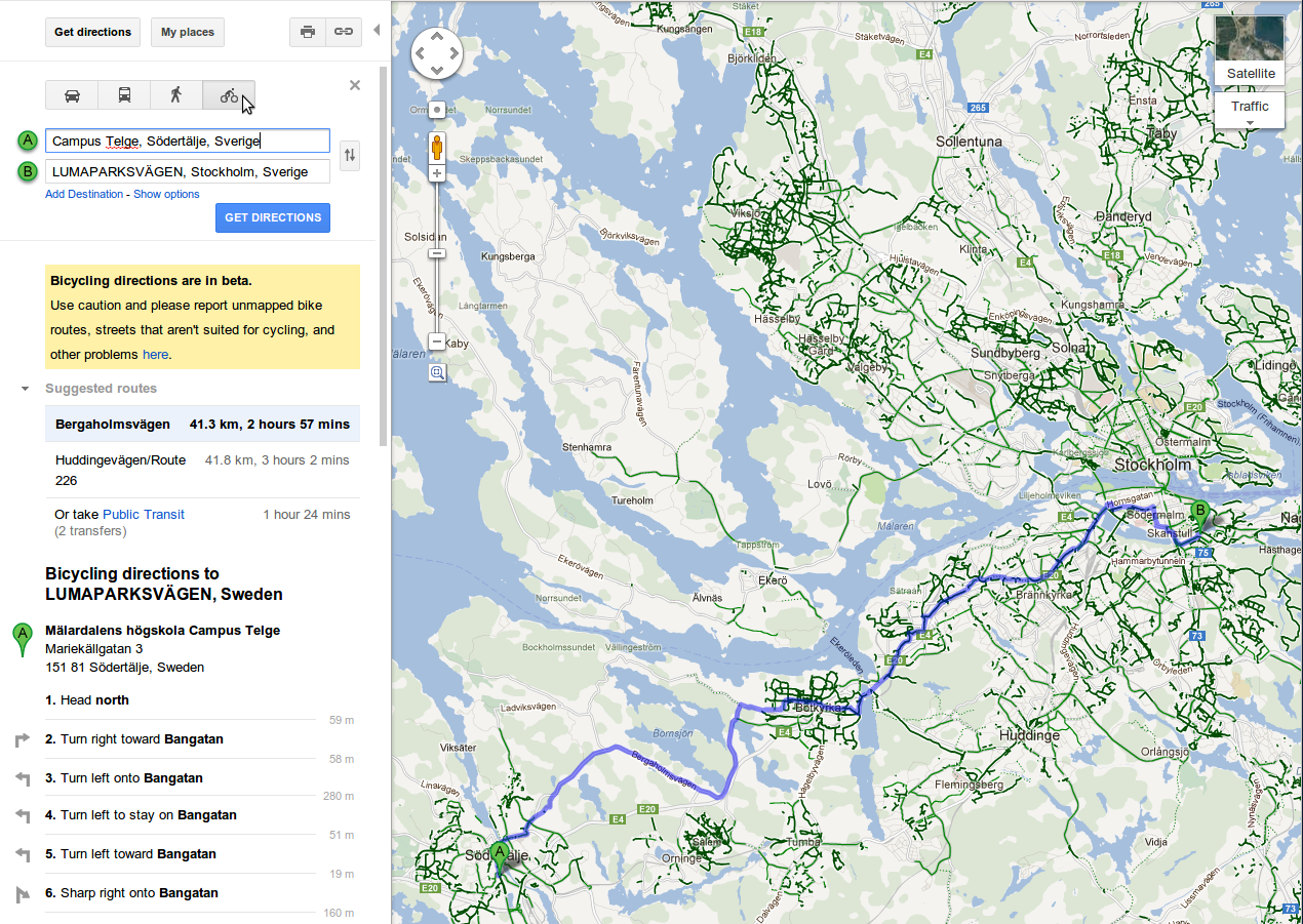 Google intinéraire vélo