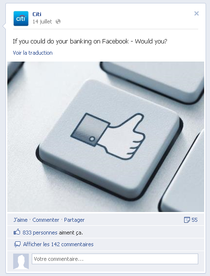 L'tonnant sondage de Citi sur Facebook