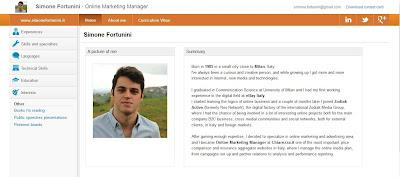 CV interactif d'un jeune marketeur italien