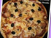 Pizzas maison tomates-chèvre-pesto & curry-poulet-poivrons-mozzarella