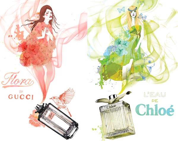 illustrations de parfums