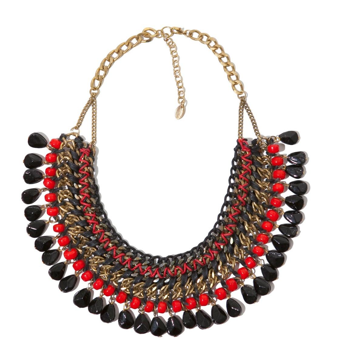 Red and Black Statement Necklace