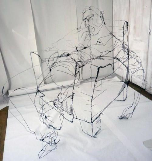 sculpture ultra r aliste en fil de fer par david oliveira paperblog. Black Bedroom Furniture Sets. Home Design Ideas