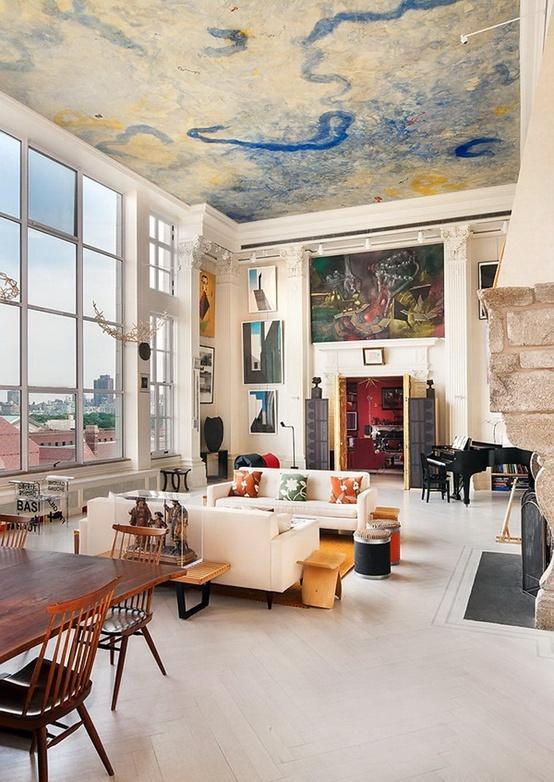 plafond peint une d co renaissance paperblog. Black Bedroom Furniture Sets. Home Design Ideas