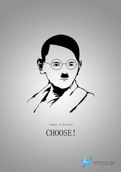 Leader or dictator choose gandhi adolf hitler