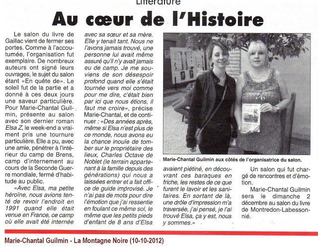 Vid o marie chantal guilmin obtient un article dans le journal la montagn - Le journal la montagne ...