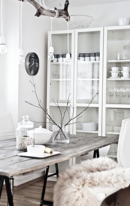 Cuisine Scandinave Blanche Et Table En Bois