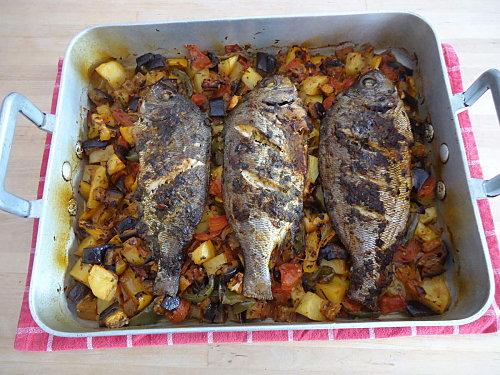 Dorades au four et ses l gumes grill s paperblog - Recette poisson grille au four ...