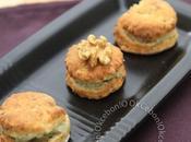 Bouchées Fourme d'Ambert, patate douce noix.