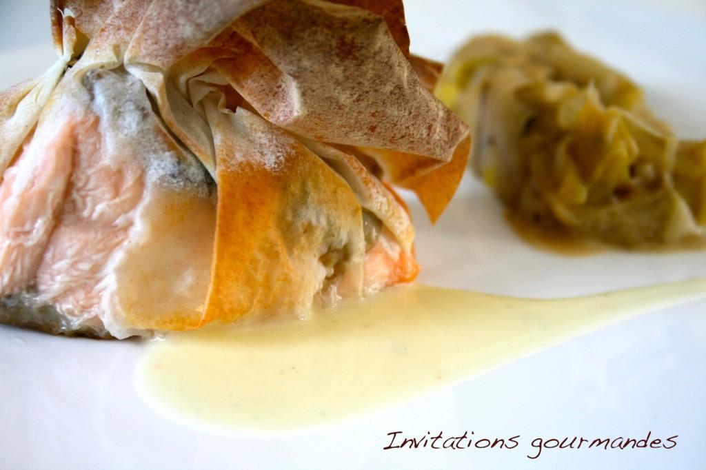 croustillant de saumon aux champignons sauce au beurre blanc et fondue de poireaux d couvrir. Black Bedroom Furniture Sets. Home Design Ideas