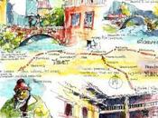 Carnet voyage avec crayon autour monde