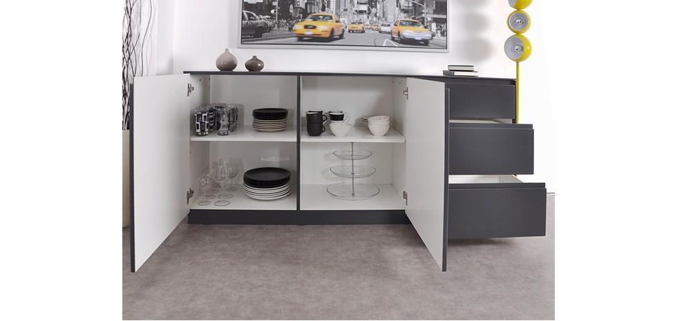 buffet bas gris pas cher. Black Bedroom Furniture Sets. Home Design Ideas