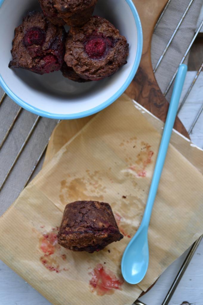 Muffins marbrés chocolat et framboises