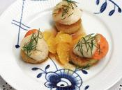 Coquilles Saint Jacques l'orange céleri pané chapelure fruits secs