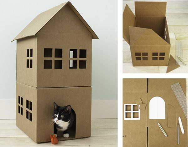 cr er une maison de jeu en carton pour nos chats paperblog. Black Bedroom Furniture Sets. Home Design Ideas