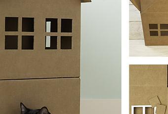 Cr er une maison de jeu en carton pour nos chats paperblog for Creer une maison jeu