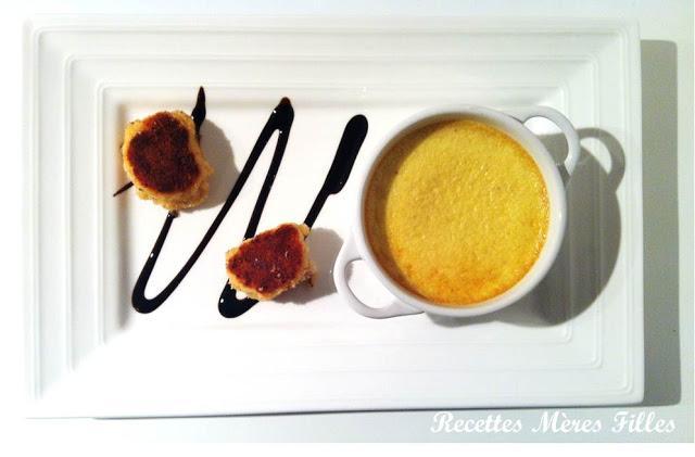 La recette Noel : Saint Jacques en croûte de parmesan et son flan de fenouil