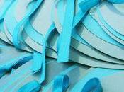 Faire-part rond prénoms. bleu turquoise gris.