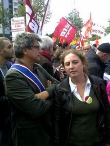 Eric Coquerel et Riva Gherchanoc soutiennent les salariés de PSA