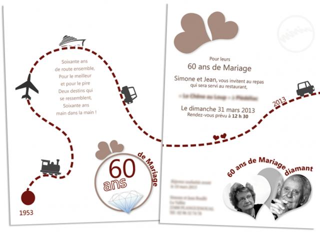 Assez Carte d'invitation anniversaire de mariage 60 ans – Blog photo de  XM45