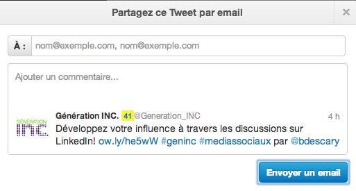 partager tweet email descary 1 Twitter: comment envoyer un tweet par mail depuis Twitter.com