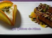 Filets lapin caramel d'orange, pignons pistaches