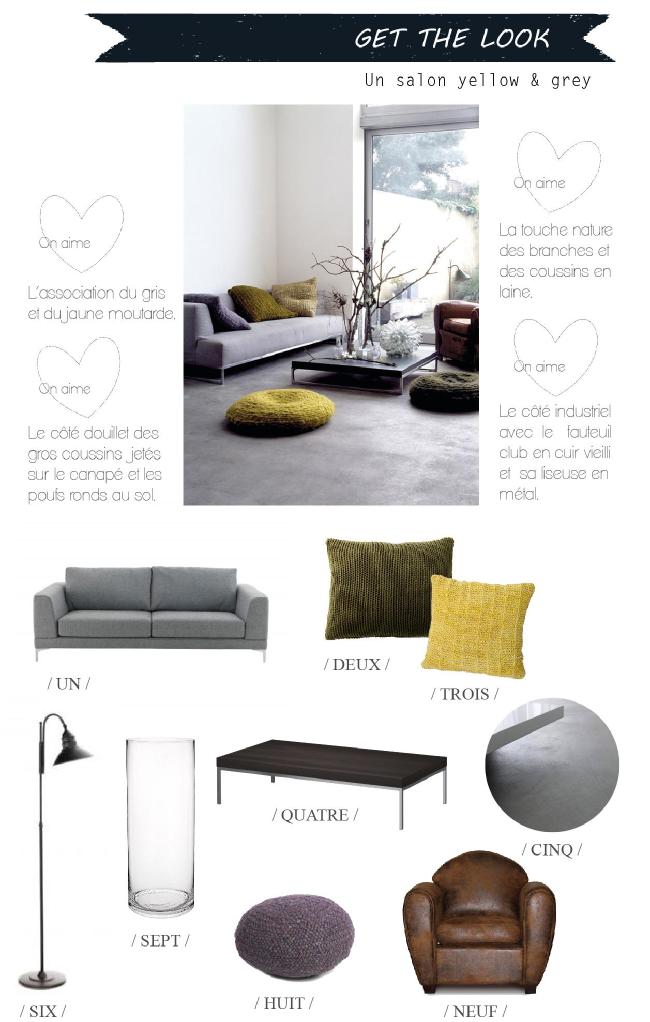 Get the look un salon douillet en gris et jaune - Salon gris jaune ...