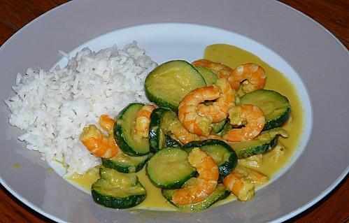 Curry de crevettes et courgettes au lait de coco ww - Cuisiner gambas surgelees ...