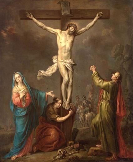Sur de nombreuses représentations artistiques (comme ce tableau de Franz Christoph Janneck), le Christ sur la croix semble faire le signe de la bénédiction.