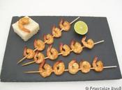 Brochettes crevettes citron vert gingembre