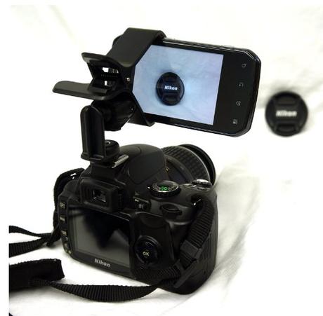 support de fixation iphone sur appareil photo ou camera d couvrir. Black Bedroom Furniture Sets. Home Design Ideas