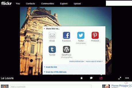 Le partage depuis Flickr n'est pas assez immédiat