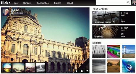 La homepage de Flickr en mode réduit