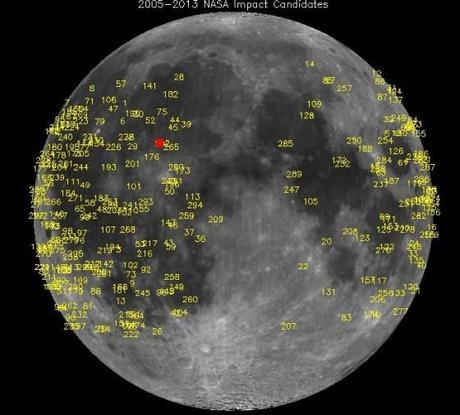 Les centaines de sites lunaires probablement frappés par un météoride depuis 2005 - Le point rouge indique le plus récent et lumineux d'entre eux, survenu le 17 mai