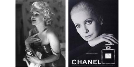 publicité chanel n°5 marilyn monroe catherine deneuve, parfum chanel, stars égéries chanel