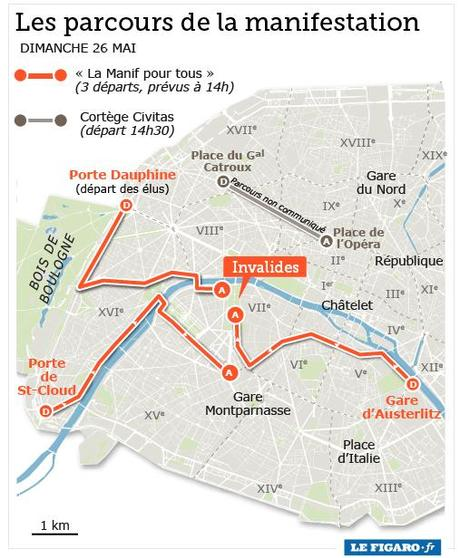 Parcours de la manifestation pour tous, dimanche 26 mai à Paris