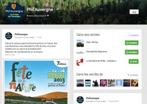 Phil'Auvergne sur Google Plus