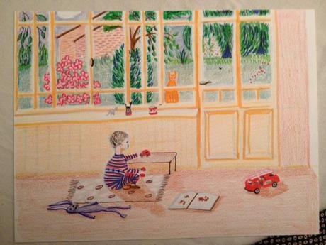 Alors forcément, ce qui devait arriver arriva: j'ai dessiné. J'ai pris mon matériel de base (crayon de couleur, feutres), et j'ai dessiné cette petite scène, inspirée par Chaton et la véranda que j'avais déjà peinte (et postée quelque part oui mais où?). C'était très agréable, je compte renouveler l'expérience.