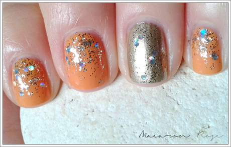 [Nail art] Orange, dégradé de paillettes et accent nail doré