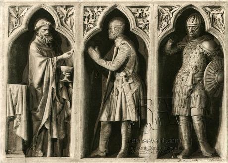 La communion du chevalier, revers du grand portail, nuit des cathédrales 2013