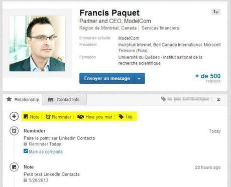 Linkedin contacts profil