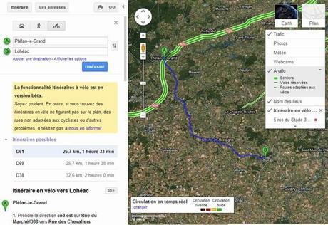 Itinéraires à vélo disponibles sous Google Maps pour la France