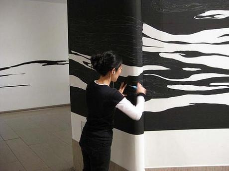 Peindre avec du ruban adhésif? Le travail de Sun K. Kwak - Installation