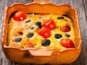 Clafoutis tomates cerises, olives parmesan
