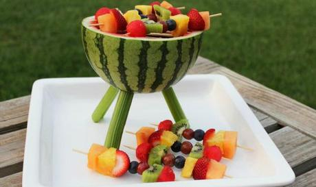 Diy la past que mini grill pour vos brochettes de fruits voir - Presentation de brochette de fruits ...