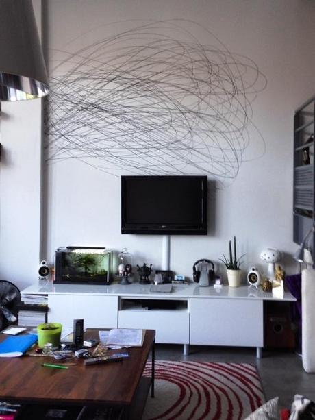dessin la craie grasse sur le mur de son salon paperblog. Black Bedroom Furniture Sets. Home Design Ideas
